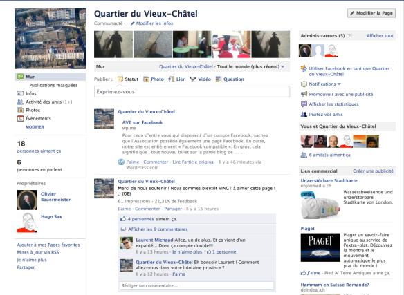 La page d'AVE sur Facebook